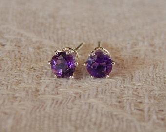 Amethyst 4mm Studs, Amethyst Stud Earrings, African Amethyst Earrings, Amethyst Post Earrings, February Birthstone, Natural Amethyst