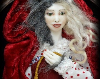 Red Riding Hood doll portrait in antique wooden frame OOAK Art Doll Accessories