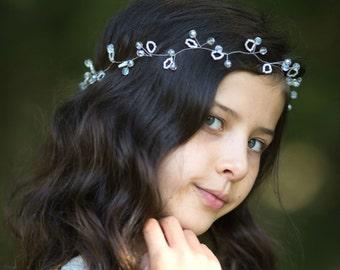 Flower girl hair accessory, CRYSTAL CHERRY VINE, Weddings, Flower girl gift, Flower girl headpiece, Bridal headband, Child hair Wedding hair