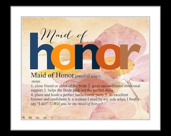 Will you be my maid of honor   Etsy