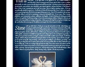 vow wedding anniversary gift wedding vows wedding vow art vows wedding vows framed canvas or print option wedding vow keepsake