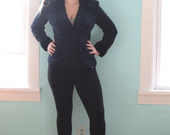 Vintage 1980s Lois Snyder/Dani Maxi Navy Blue Blazer Black Collar Long Sleeves Winter Gift for Her Casual Medium M Large L Size 10 12 14