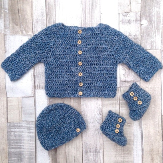 Baby cardigan, Boys blue cardigan set, Booties and hat set, Gift for new born baby, Crocheted baby boy set, Baby shower,