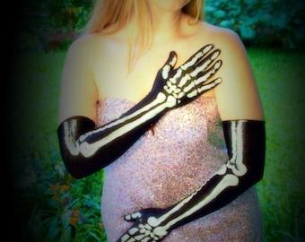 Elegant, Elbow length, Skeleton, Corpse Bride Gloves