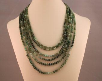 Chalcedony Multi-Strand Beaded Necklace
