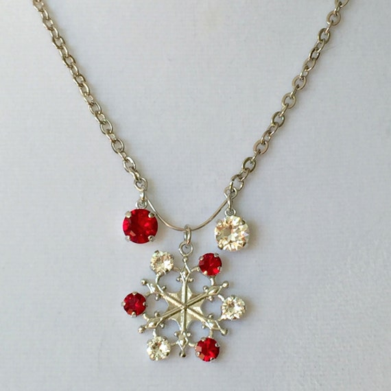 Red & Clear Crystal Snowflake Pendant Necklace, Silver