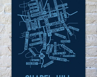 Chapel Hill, North Carolina Street Map Poster