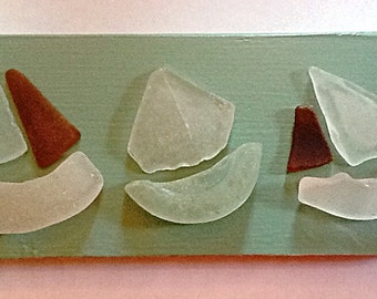 Sailing regatta, sea glass sailboats on repurposed wood, beach glass, coastal art, beach art, nautical art, beach cottage, ocean art
