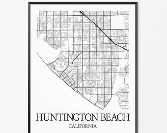 Huntington Beach Map Art Print, Huntington Beach Poster Map of Huntington Beach Decor, Huntington Beach City Map Art, Huntington Beach Gift