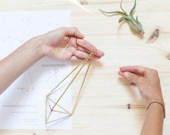 Simple Brass Himmeli DIY Set - Geometrical Planter - Brass Himmeli - Air Plant Holder - Hanging Planter - Airplant Terrarium