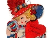 Valentine's Day Ornament Decoration, Vintage Imagery Red Glitter Sparkles, Retro Party Heart Girl Card Recycled Handmade OOAK Ephemera Gift