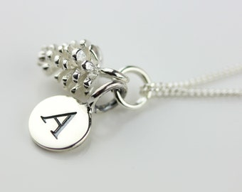 Solid Silver Pine Cone Necklace Personalised with a Solid Silver Stamped Initial Charm