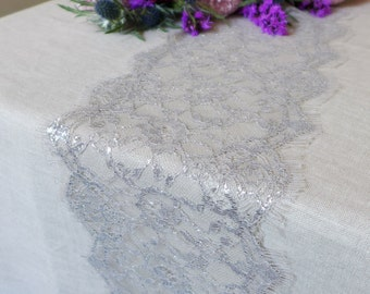 Beige & Silver Lace Table Runner - Perfect Lace Table Runner for Home, Weddings, Parties and Everyday-Made in the USA-Many Lengths or Custom