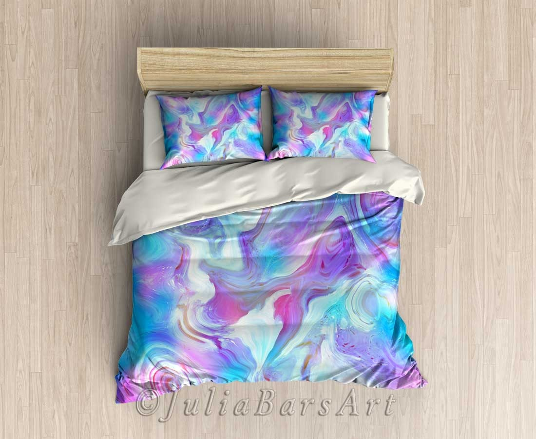 Modern bedding set blue turquoise purple pink duvet cover for Turquoise and pink bedroom