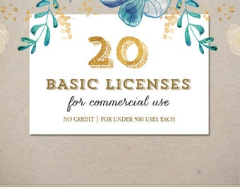 20 Basic Commercial Licenses Bundle for Commercial Use of Patterns, Graphic Design | Discount Package