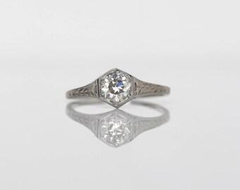 Circa 1930 - 18K White Gold .65ct Old European Cut Diamond Engagement Ring - VEG#555