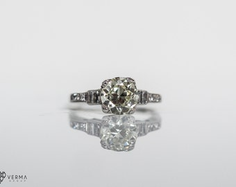 Circa 1920s Art Deco *Stunning* 1.30ct Old Miner Diamond Engagement Ring with Accent Diamonds, Platinum, ATL #350