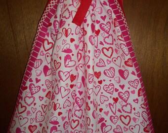 Pink Hearts Bandana Dress, Bandana Top. Valentines Day Bandana Dress or Top. ONE SIZE. Ready to ship