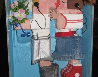 Story Box Mixed Media recycled art, Media Assemblage, First Date, Roller Lovers