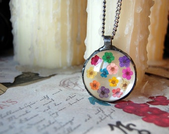 Colorful FLOWER terrarium pendant, large necklace, rainbow necklace, terrarium jewelry, plant jewelry, botanical jewelry, valentines gift