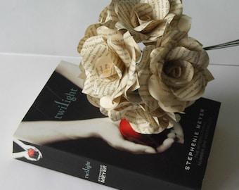 6 x Twilight Saga Book Page Paper Flower Roses - handmade flowers - Vampire or Themed Wedding Stephanie Meyer