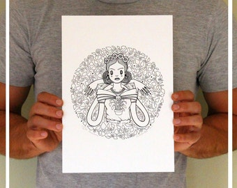 "Art Print . ""Pachamama"" , Earth Mother, Frida design. limited edition"