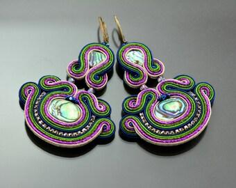 Blue Brown Gold Soutache Earrings, Long Blue Earrings, Gold Long Earrings, Dangling Embroidery Earrings, Soutache Embroidery, Brown Earrings
