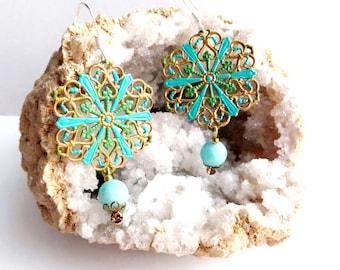 Boho earrings amazonite jewelry, gemstone earrings amazonite earrings gypsy jewelry gemstone jewelry boho chic earrings