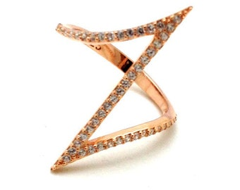 Z zig zag ring, rose gold, zircons, 925 sterling silver
