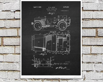 Willys Jeep Patent Print # 1, one single unframed art print, Antique Jeep military vehicle parts patent, Jeep Gift idea, Jeep Wall Decor