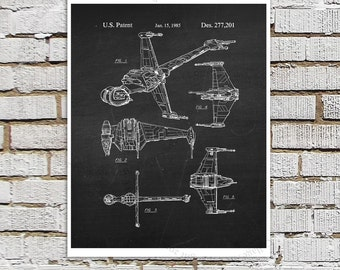 Star Wars print #18 B-Wing Fighter Patent Art, Star Wars Decor, Star Wars Boys room Decor,  Movie Wall Art, Star Wars Ships, Star Wars Gift