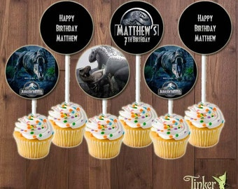 Jurassic World Birthday Party - Personalized Cupcake Toppers - Digital File - Printable - dinosaurs - Jurassic World Cupcake Toppers