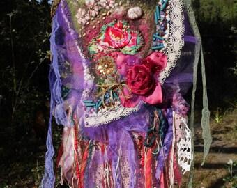 Small bag felted wool, romantic, romantic, bohemian bag, mauve, lilac, red, Wearable Art, Unique