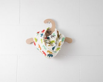 ON SALE - Soft Lightweight 100% GOTS Certified Organic Cotton Scarf / Multi Coloured Elephants / Snap Closure at Back
