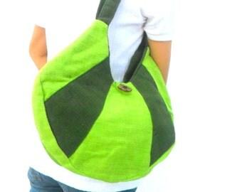 Tote bag Lady Women Hemp Bag Ethnic bag  Bohemian Bag Green color Bag Shoulder Bag Hippie Boho Purse Messenger Gift Bag