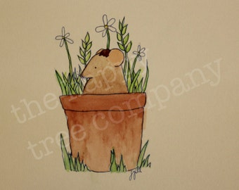 ORIGINAL woodland animal watercolor painting 'strange seed' mouse in plant pot gardening