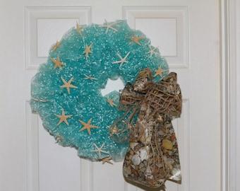 Starfish Inspired Deco Mesh Wreath