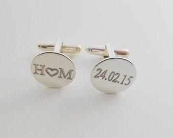 Engraved Wedding Cufflinks for Groom,Silver Wedding Heart Cufflinks,Initials and Date Cufflinks,Engraved Cufflinks,Monogram Cuff Links,