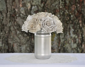Mixed Paper Roses in Sliver Jar