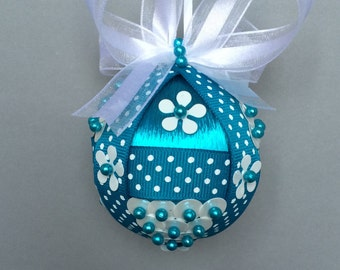 Turquoise With White Sequin Christmas Ornament/Handcrafted