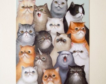 Cat army print - art print with kittens