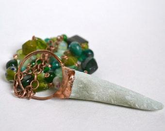 Antler & Copper Pendant on Green Glass beaded Copper Chain