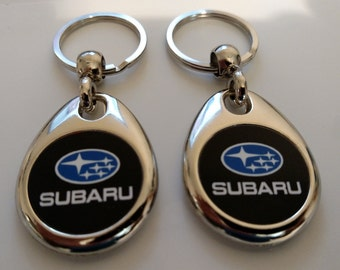 SUBARU KEYCHAIN SET black fob car logo double sided