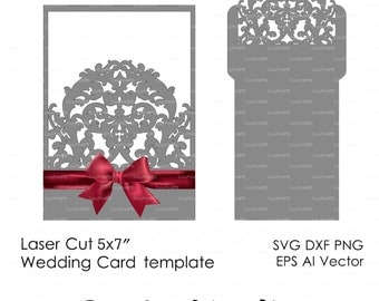 Wedding Envelope Template swirl cutting file K103 (svg, dxf, ai, eps, png, pdf) laser cut pattern Silhouette Cameo Instant Download