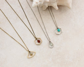 Geometric Necklace, Silver and Brass Necklace, Custom Colors, Create Your Own Look,  Quarter Circle, Hexagon, Teardrop, Minimalist Jewelry