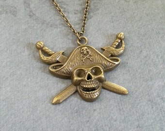 Pirate Necklace Skull Necklace Jolly Roger Necklace Cutlass Necklace Buccaneer Necklace Pirate Skull Necklace Bronze Necklace Brass Necklace