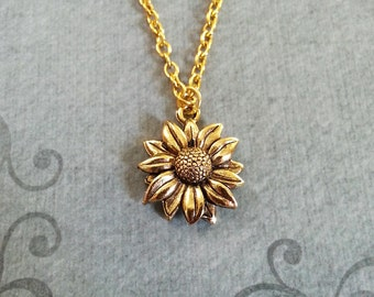 Sunflower Necklace SMALL Sunflower Jewelry Sunflower Pendant Gold Sunflower Charm Flower Necklace Bridesmaid Necklace Flower Girl Jewelry