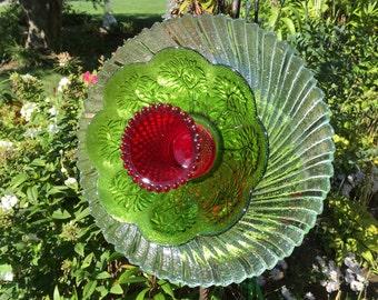 Stunning vintage glass garden flower stake head with 2-way display