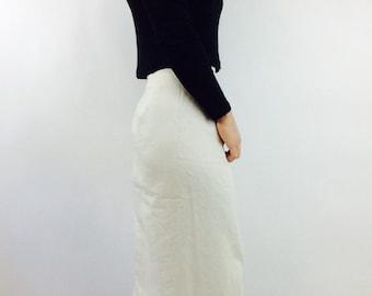 White linen skirt linen maxi skirt white maxi skirt vintage linen skirt vintage natural skirt long linen skirt long vintage skirt size S