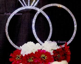 Set of 2 Stunning Extra Large Silver Rhinestone Wedding Rings Cake Topper